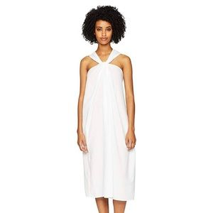 Vince White Twist Front Halter Cotton Dress